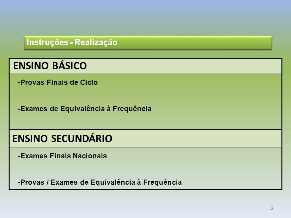 ENSINO BÁSICO ENSINO SECUNDÁRIO Instruções - Realização