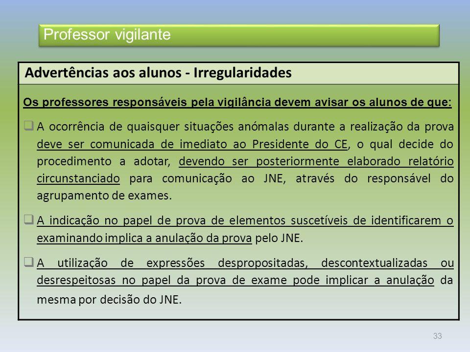 Advertências aos alunos - Irregularidades
