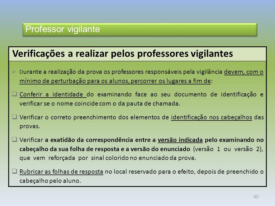 Verificações a realizar pelos professores vigilantes