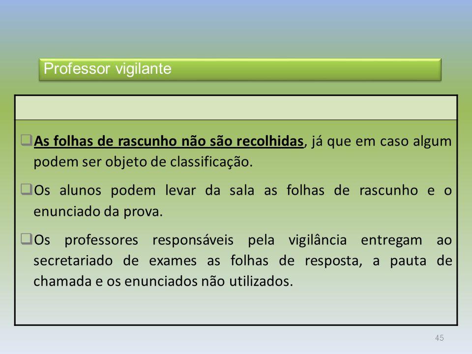 Exames 2010 Professor vigilante. As folhas de rascunho não são recolhidas, já que em caso algum podem ser objeto de classificação.