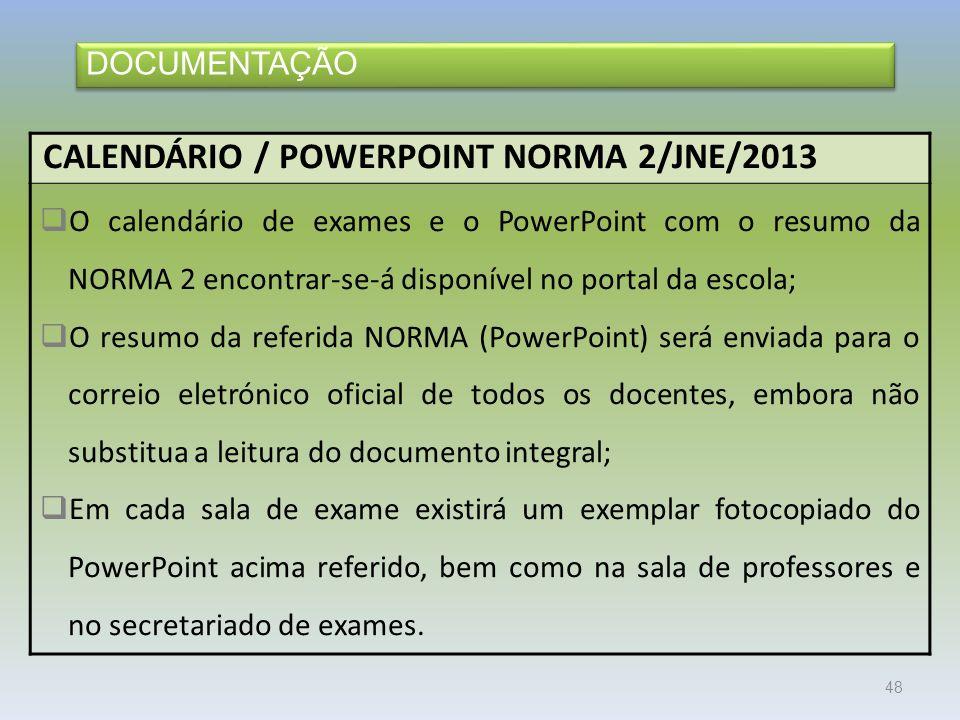 CALENDÁRIO / POWERPOINT NORMA 2/JNE/2013