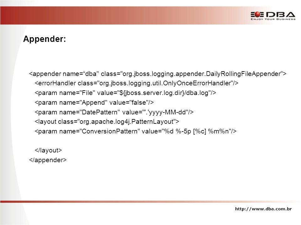 Appender: <appender name= dba class= org.jboss.logging.appender.DailyRollingFileAppender >