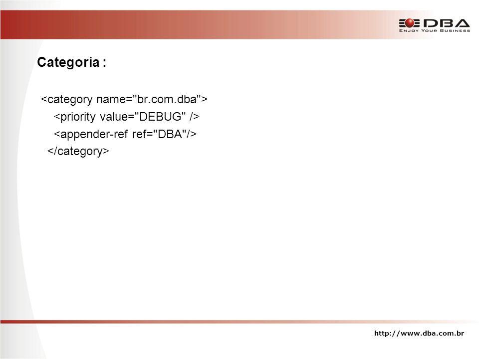 Categoria : <category name= br.com.dba >