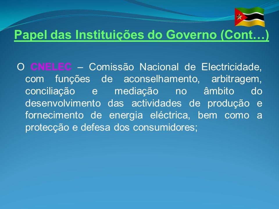 Papel das Instituições do Governo (Cont…)