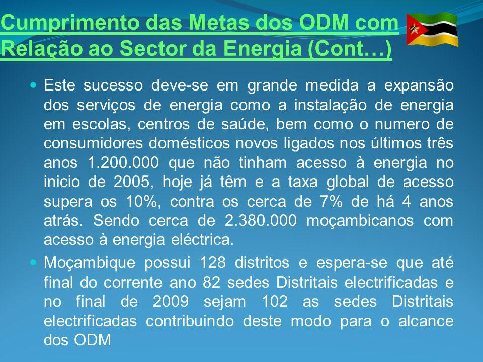 Cumprimento das Metas dos ODM com Relação ao Sector da Energia (Cont…)