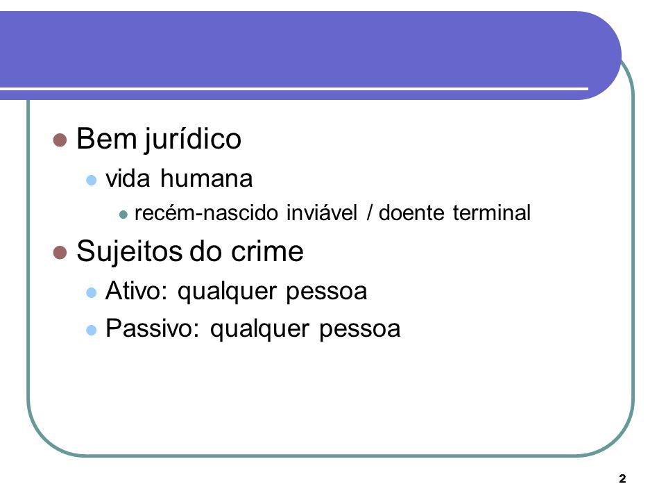 Bem jurídico Sujeitos do crime vida humana Ativo: qualquer pessoa