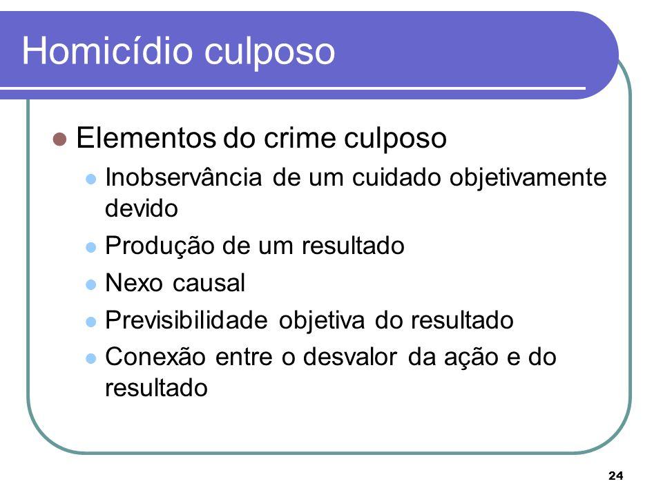 Homicídio culposo Elementos do crime culposo