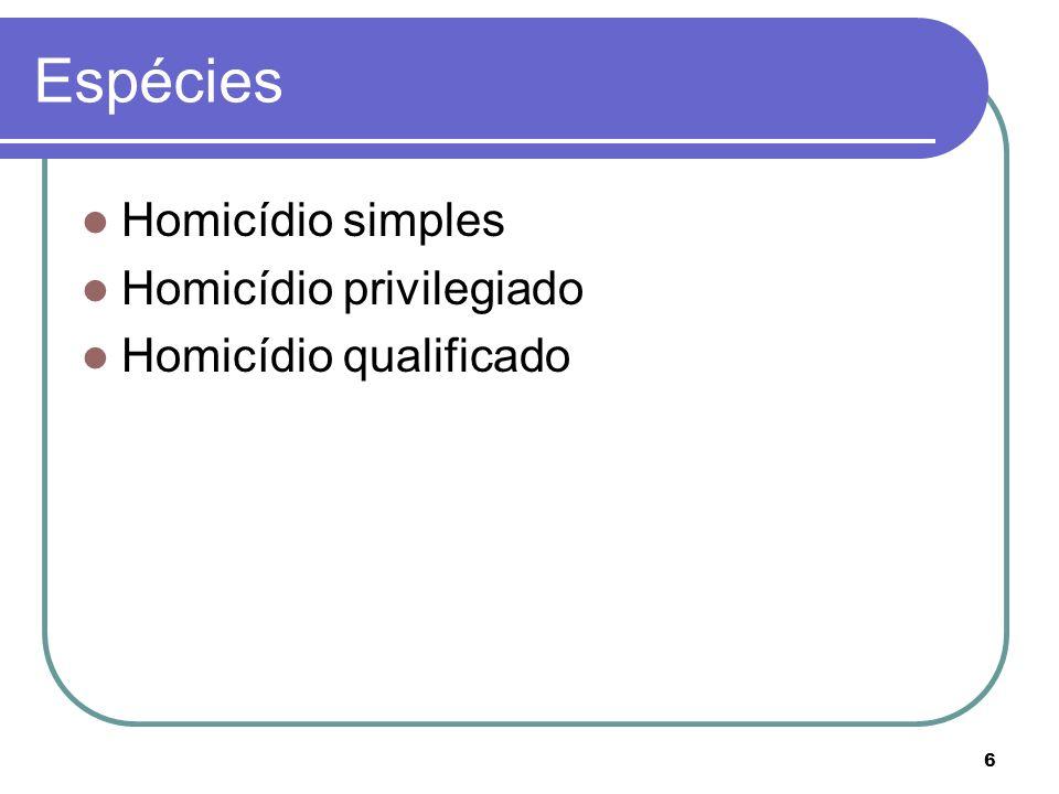 Espécies Homicídio simples Homicídio privilegiado