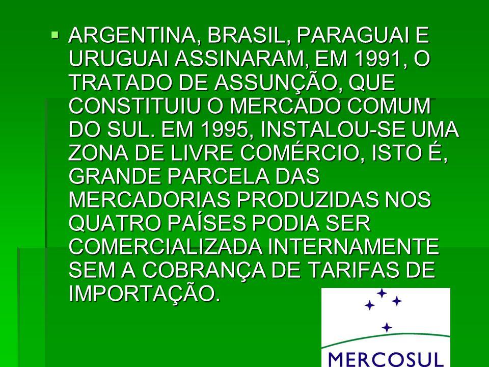 ARGENTINA, BRASIL, PARAGUAI E URUGUAI ASSINARAM, EM 1991, O TRATADO DE ASSUNÇÃO, QUE CONSTITUIU O MERCADO COMUM DO SUL.