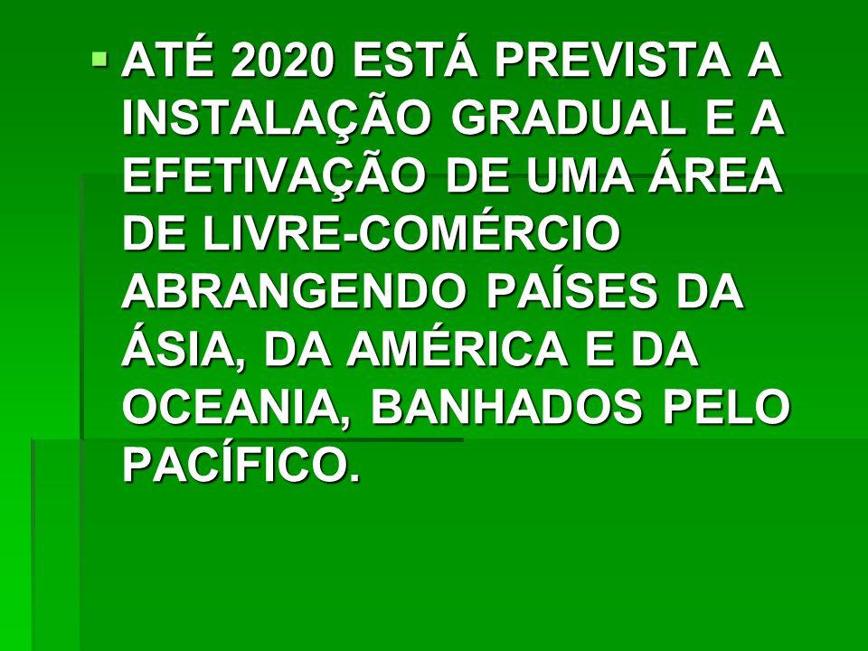 ATÉ 2020 ESTÁ PREVISTA A INSTALAÇÃO GRADUAL E A EFETIVAÇÃO DE UMA ÁREA DE LIVRE-COMÉRCIO ABRANGENDO PAÍSES DA ÁSIA, DA AMÉRICA E DA OCEANIA, BANHADOS PELO PACÍFICO.
