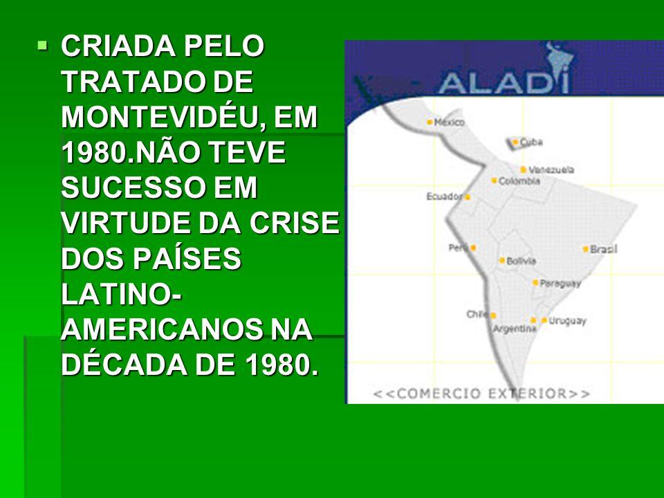 CRIADA PELO TRATADO DE MONTEVIDÉU, EM 1980