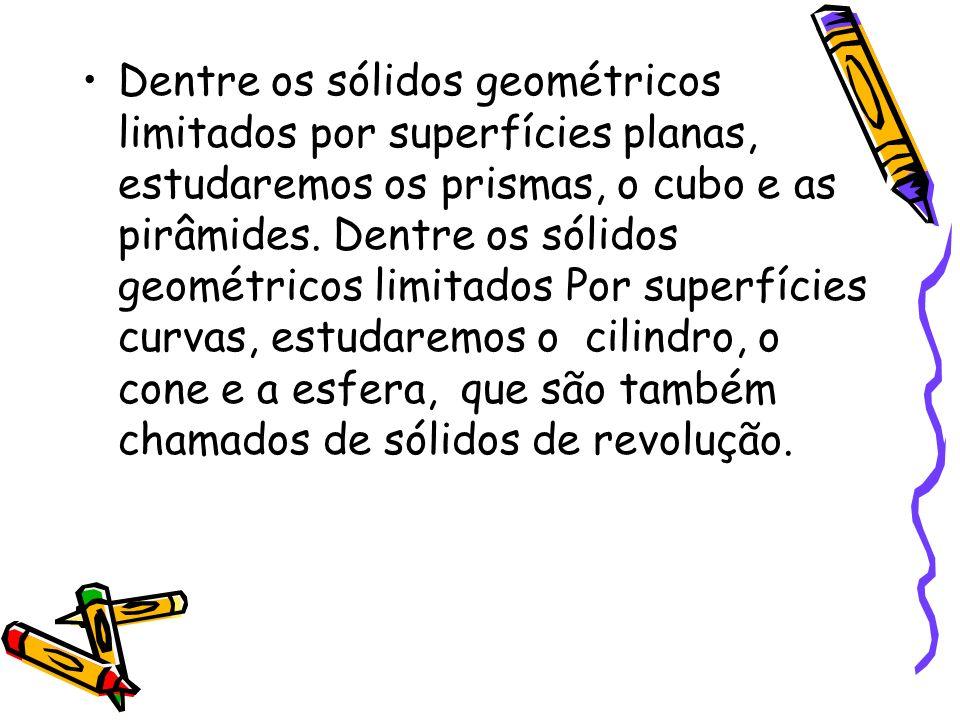 Dentre os sólidos geométricos limitados por superfícies planas, estudaremos os prismas, o cubo e as pirâmides.