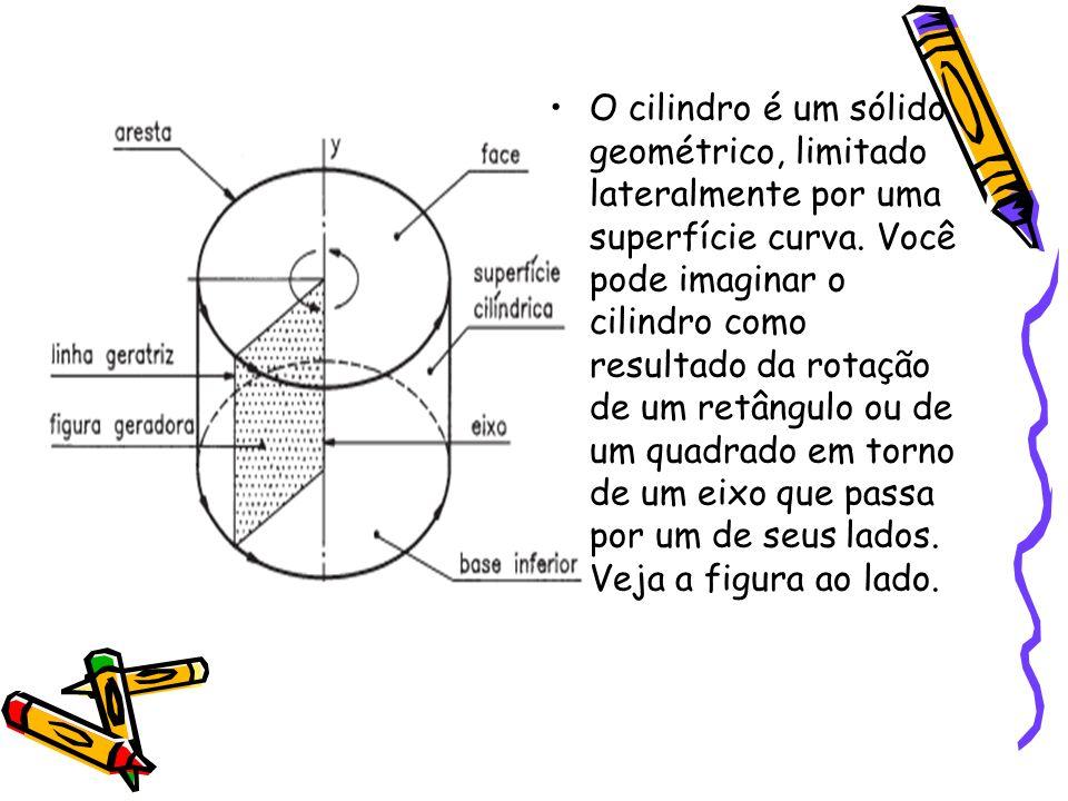 O cilindro é um sólido geométrico, limitado lateralmente por uma superfície curva.