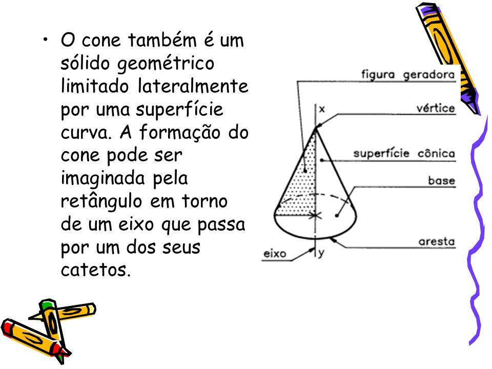 O cone também é um sólido geométrico limitado lateralmente por uma superfície curva.