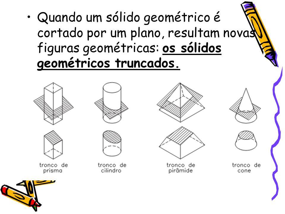 Quando um sólido geométrico é cortado por um plano, resultam novas figuras geométricas: os sólidos geométricos truncados.