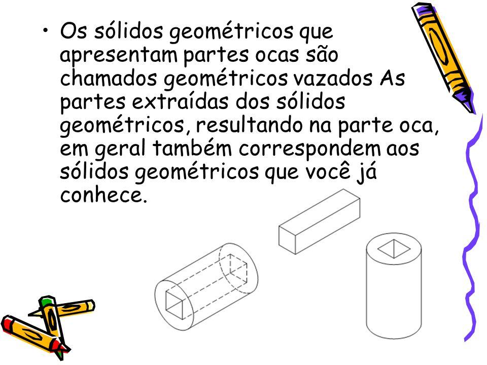 Os sólidos geométricos que apresentam partes ocas são chamados geométricos vazados As partes extraídas dos sólidos geométricos, resultando na parte oca, em geral também correspondem aos sólidos geométricos que você já conhece.