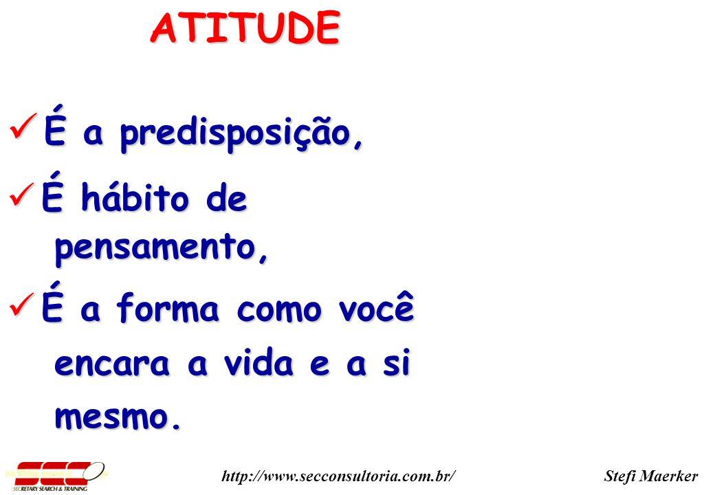 ATITUDE É a predisposição, É hábito de pensamento, É a forma como você
