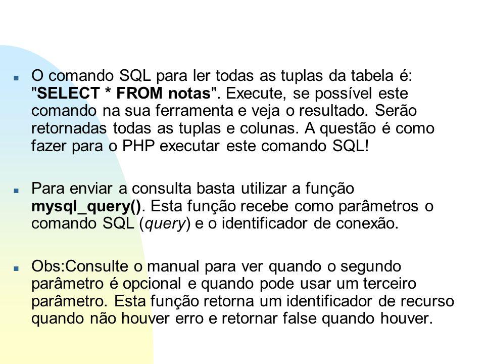 O comando SQL para ler todas as tuplas da tabela é: SELECT