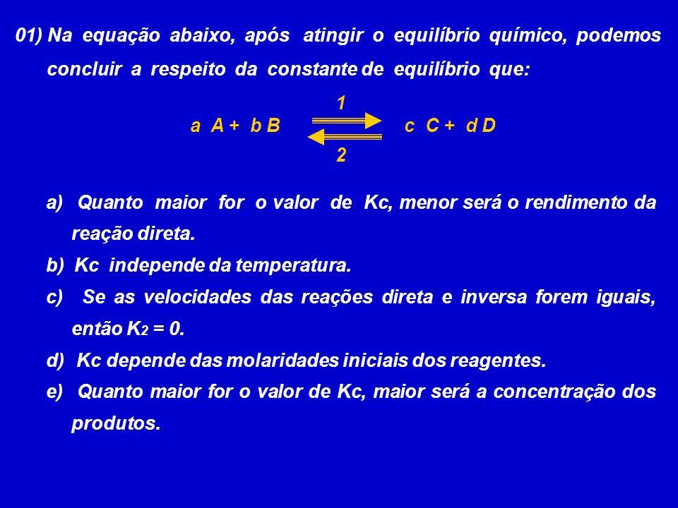 01) Na equação abaixo, após atingir o equilíbrio químico, podemos