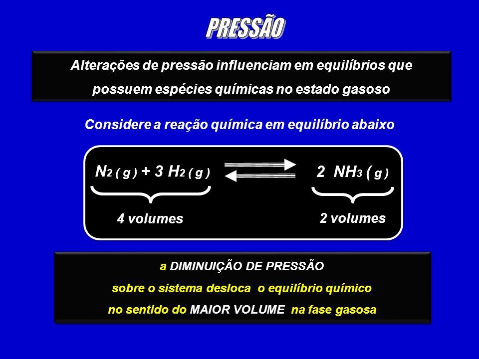 PRESSÃO N2 ( g ) + 3 H2 ( g ) 2 NH3 ( g )