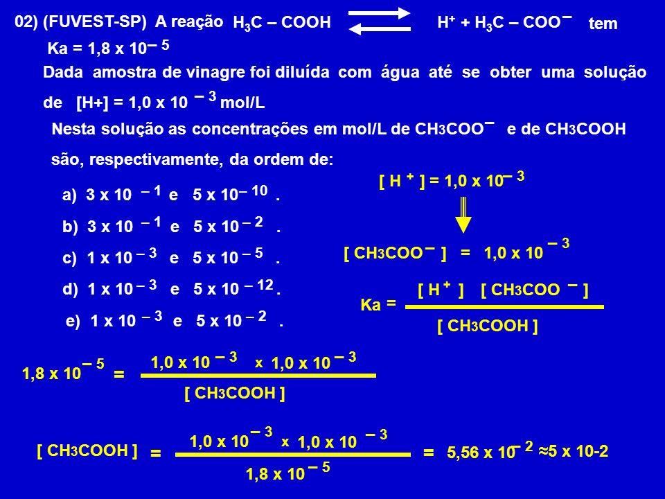 + + = = = – 02) (FUVEST-SP) A reação tem – 5 Ka = 1,8 x 10
