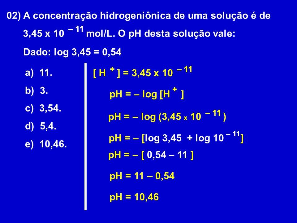 02) A concentração hidrogeniônica de uma solução é de