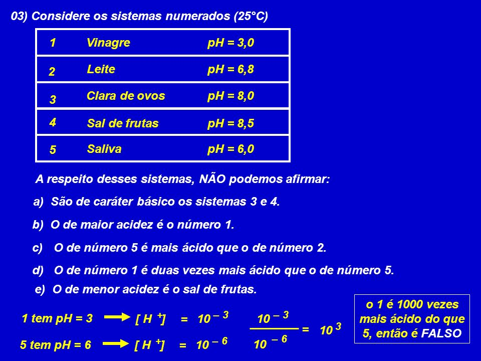 03) Considere os sistemas numerados (25°C)