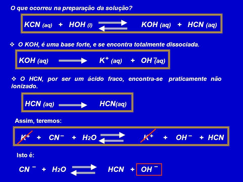 KCN (aq) + HOH (l) KOH (aq) + HCN (aq)