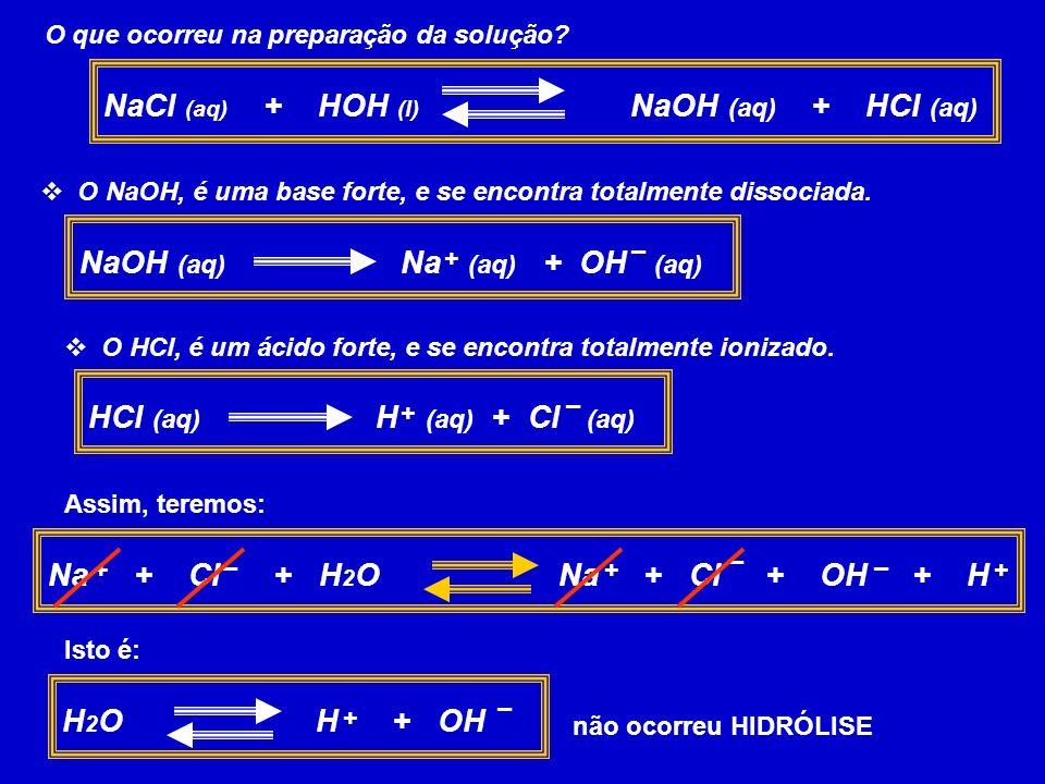 NaCl (aq) + HOH (l) NaOH (aq) + HCl (aq)