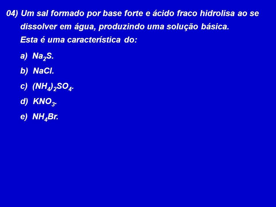 04) Um sal formado por base forte e ácido fraco hidrolisa ao se