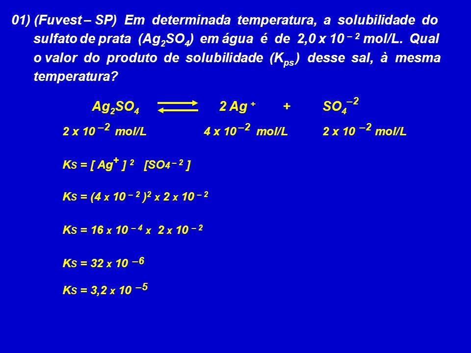 01) (Fuvest – SP) Em determinada temperatura, a solubilidade do