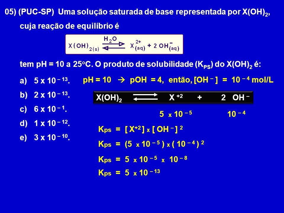 05) (PUC-SP) Uma solução saturada de base representada por X(OH)2,