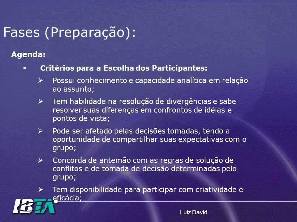 Fases (Preparação): Agenda: