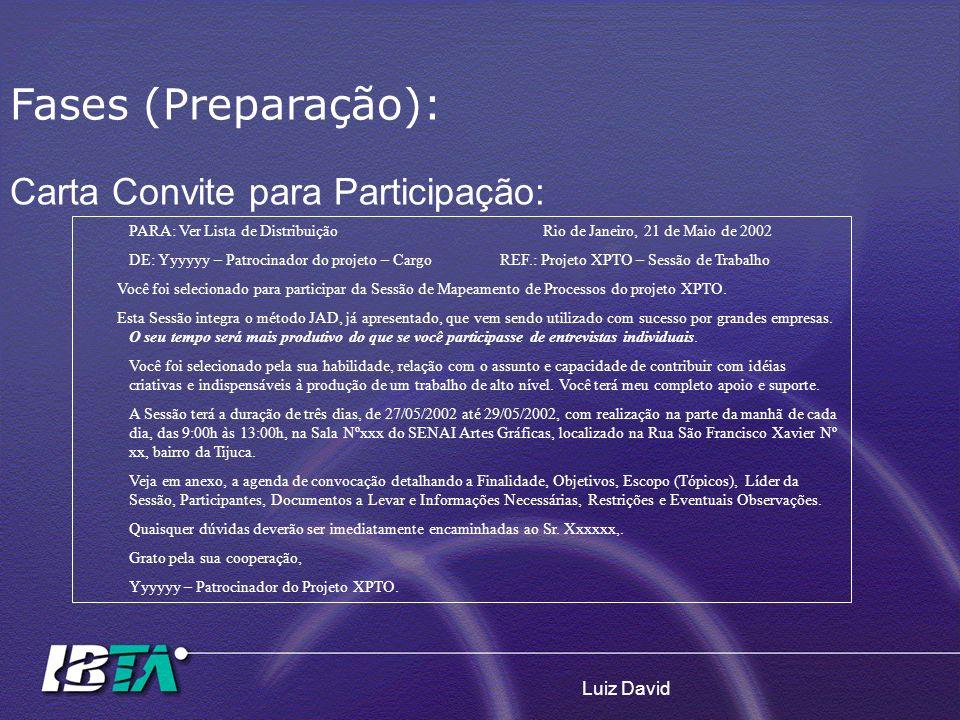 Fases (Preparação): Carta Convite para Participação: Luiz David