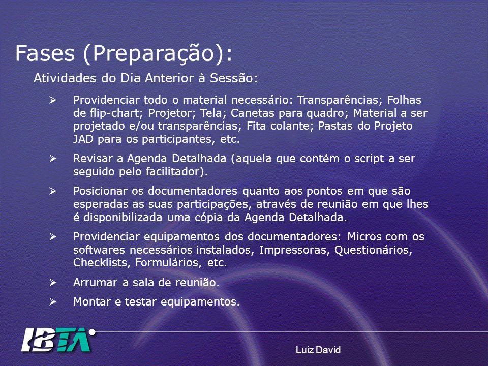 Fases (Preparação): Atividades do Dia Anterior à Sessão: