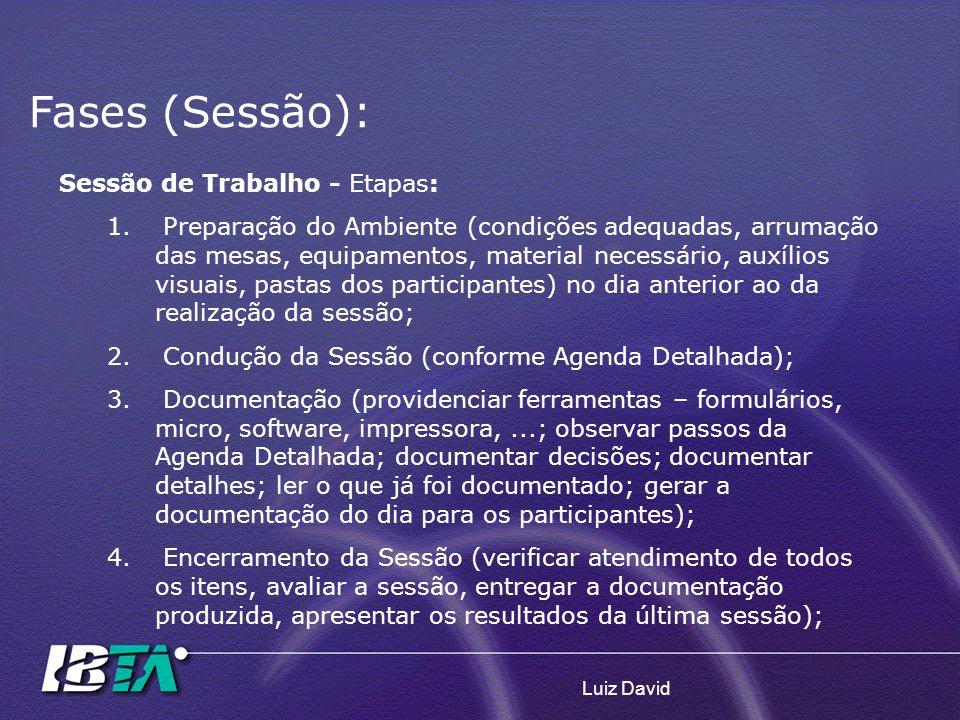 Fases (Sessão): Sessão de Trabalho - Etapas: