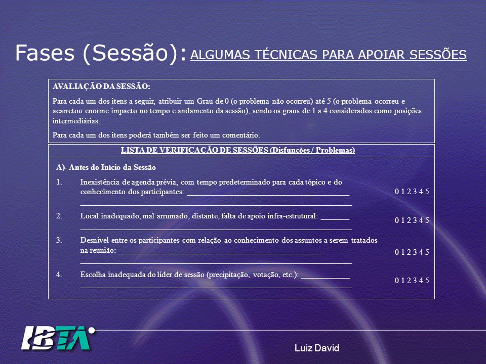 LISTA DE VERIFICAÇÃO DE SESSÕES (Disfunções / Problemas)