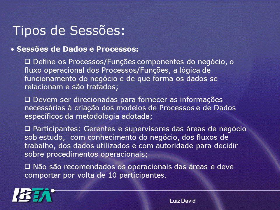 Tipos de Sessões: Sessões de Dados e Processos: