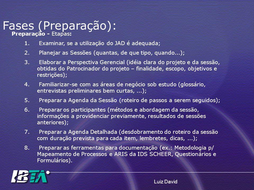 Fases (Preparação): Preparação - Etapas: