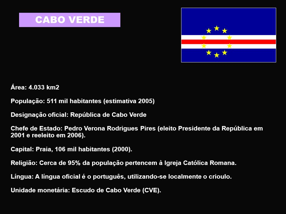 CABO VERDE Área: 4.033 km2. População: 511 mil habitantes (estimativa 2005) Designação oficial: República de Cabo Verde.