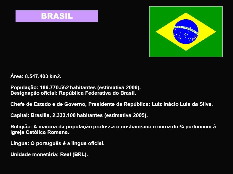 BRASIL Área: 8.547.403 km2. População: 186.770.562 habitantes (estimativa 2006). Designação oficial: República Federativa do Brasil.