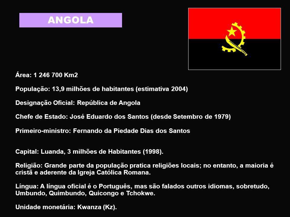 ANGOLA Área: 1 246 700 Km2. População: 13,9 milhões de habitantes (estimativa 2004) Designação Oficial: República de Angola.