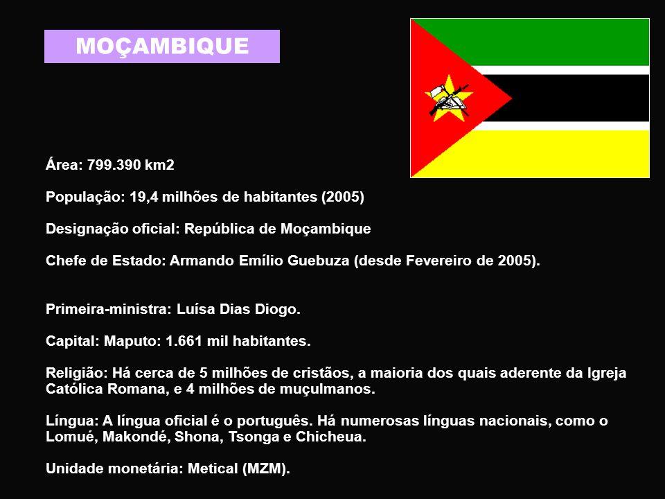 MOÇAMBIQUE Área: 799.390 km2. População: 19,4 milhões de habitantes (2005) Designação oficial: República de Moçambique.
