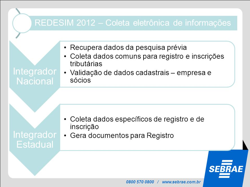 REDESIM 2012 – Coleta eletrônica de informações