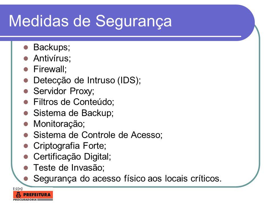 Medidas de Segurança Backups; Antivírus; Firewall;