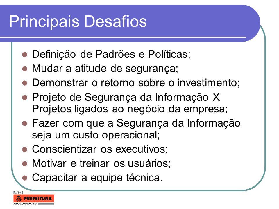 Principais Desafios Definição de Padrões e Políticas;