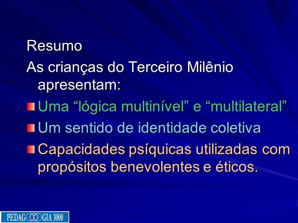 Resumo As crianças do Terceiro Milênio apresentam: Uma lógica multinível e multilateral Um sentido de identidade coletiva.