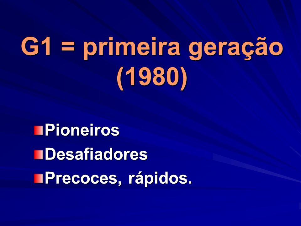 G1 = primeira geração (1980) Pioneiros Desafiadores Precoces, rápidos.