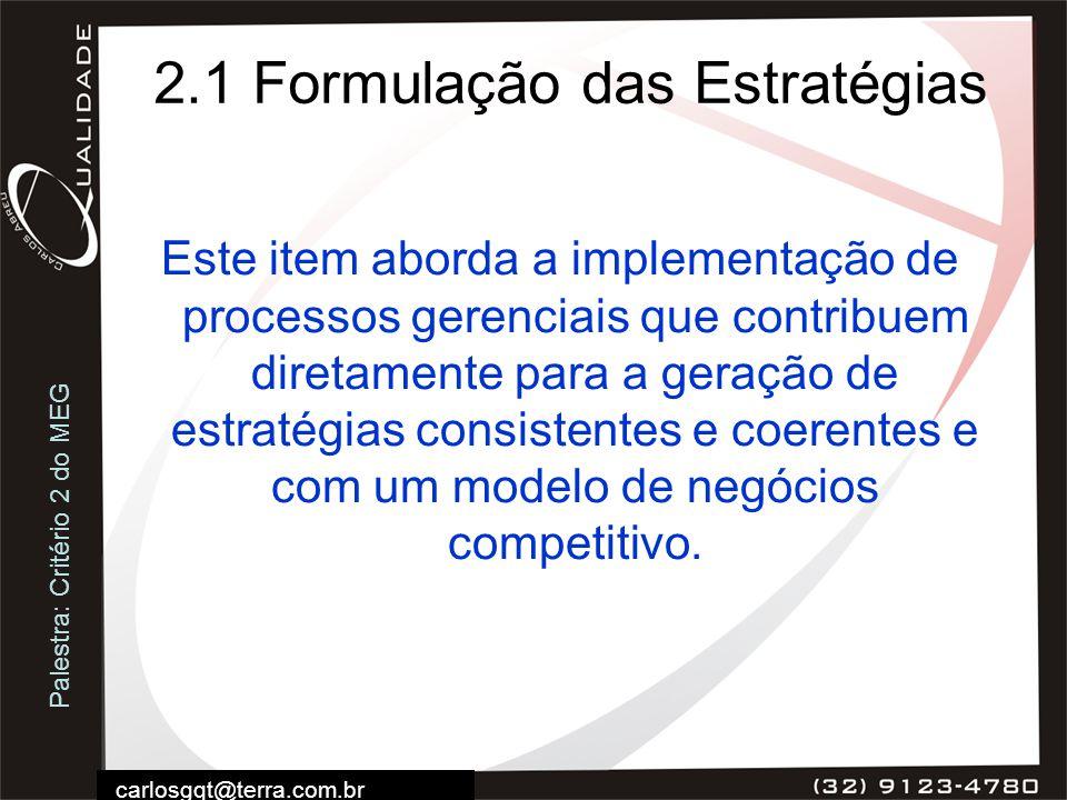 2.1 Formulação das Estratégias