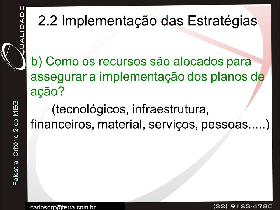2.2 Implementação das Estratégias
